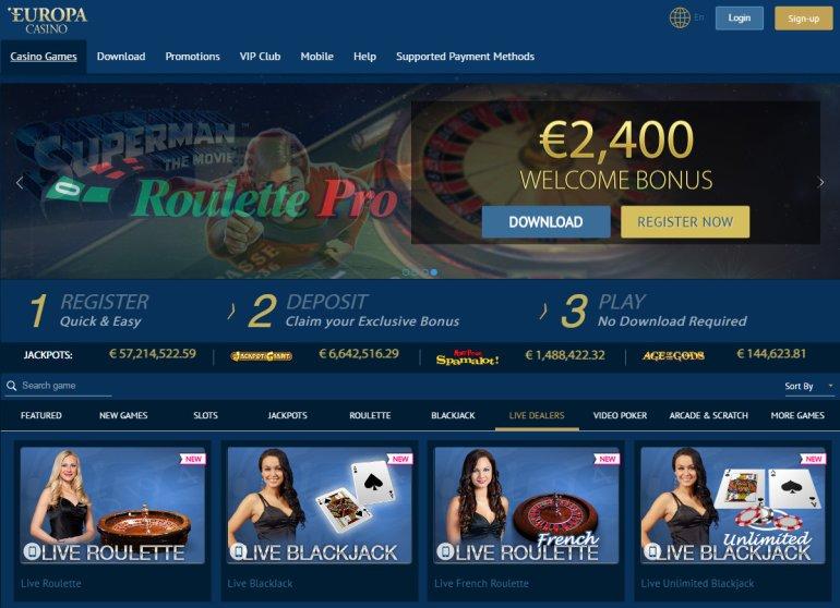 официальный сайт казино европа скачать бесплатно