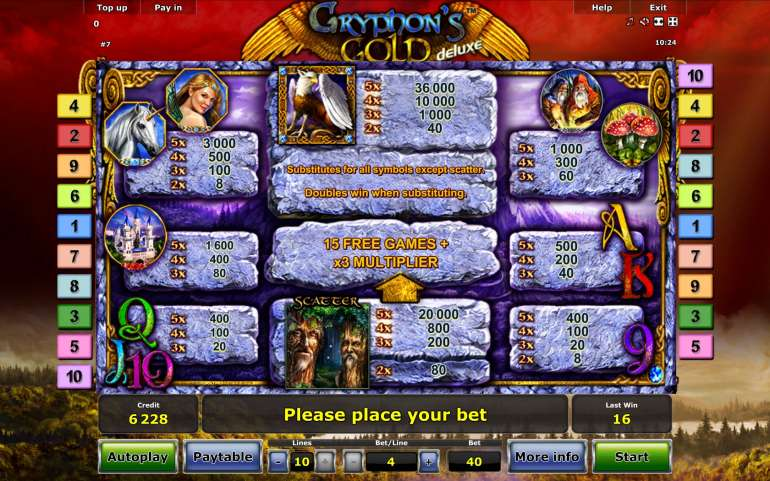 Игровой автомат gryphons gold novomatic