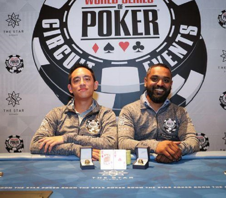 Justin Wong and Sid Guna win 2017 WSOPC Sydney team event.jpg