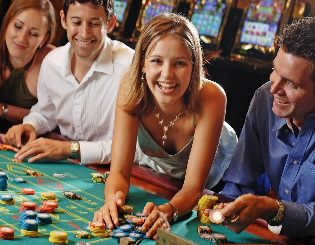 laughing girl in casino
